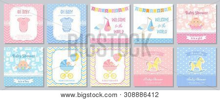 Baby Shower Card. Vector. Baby Girl Boy Invitation. Welcome Invite Template Banner. Blue Pink Design