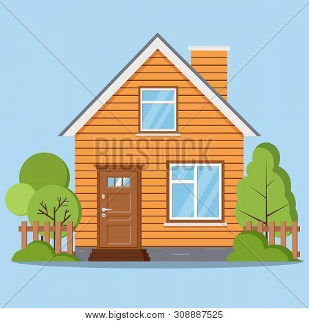 Isolated Rural Farm Woofen House With Fence, Chimney, Attic, Windows, Door, Green Trees In Cartoon F