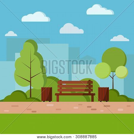 Vector Park Day Nature Background Illustration In Cartoon Flat Style. Wooden Bench, Waste Bin With T