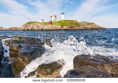 Historic Nubble Lighthouse On Cape Neddick In York, Maine