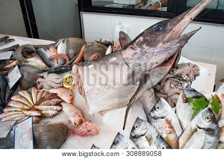 Bari, Puglia/italy - June 8 2019: Various Fresh Seafood And Fish Displayed On The Table For Sale In