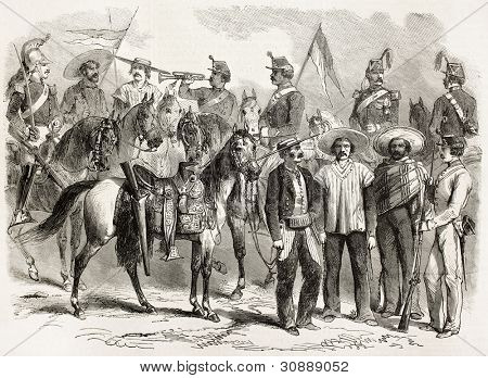 Mexican army soldiers old illustration. Created by Janet-Lange, Hotelin and Horel, published on L'Illustration, Journal Universel, Paris, 1863