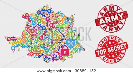 Safety Caceres Province Map And Stamps. Red Rounded Top Secret And Army Grunge Seal Stamps. Colored