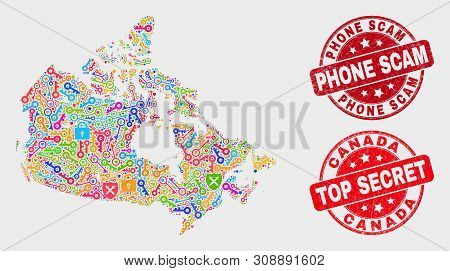 Passkey Canada Map And Watermarks. Red Round Top Secret And Phone Scam Textured Watermarks. Colored