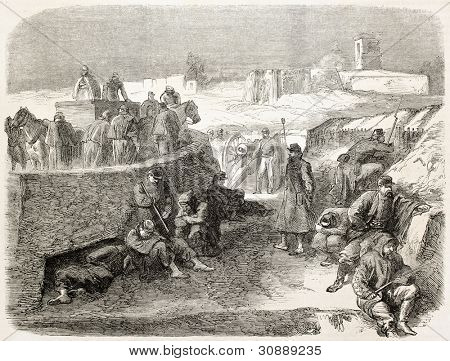 French intervention in Mexico: trench and cannon battery in front of  Puebla prison. Created by Worms after Pierson, published on L'Illustration, Journal Universel, Paris, 1863