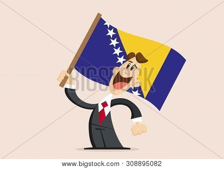 Happy Man In Suit Holds Flag Of Bosnia And Herzegovina