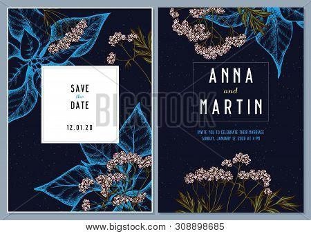 Dark Wedding Invitation Card With Colored Valerian Stock Illustration