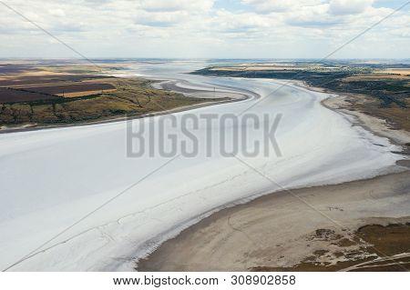 Amazing Beauty Of Drying Kuyalnik Estuary From Bird's Flight. Top View Of Coastal Zone Of Ecological