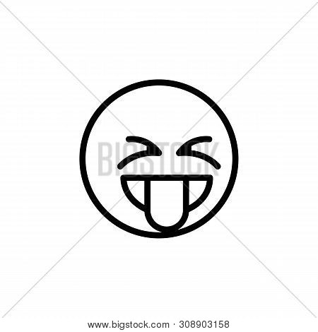 Tongue emoji outline icon. Signs and symbols can be used for web, logo, mobile app, UI, UX poster