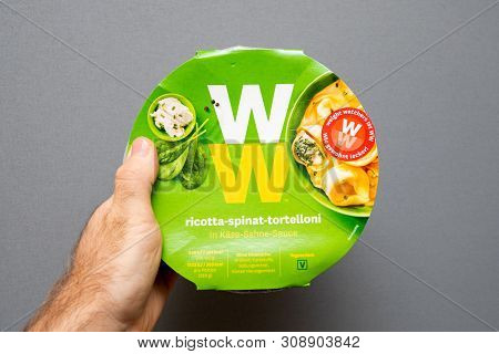 Paris, France - May 19, 2019: Man Hand Holding Weight Watchers Ricotta Spinach And Tortellini With C