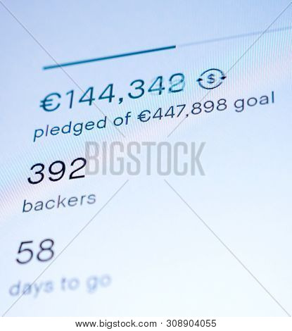 Generic digital screen display featuring crowdfunding project with fast changing sum of money pledged of a total by 385 bayrs with 58 days to go - modern crowdfunding website poster