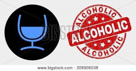 Rounded Mixture Glass Icon And Alcoholic Stamp. Red Rounded Scratched Seal Stamp With Alcoholic Capt