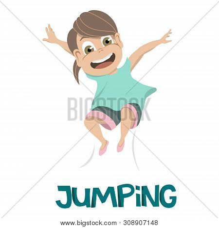 Drawing Of Smiling Young Girl In Light Blue Shirt Leaping Into The Air Over Jumping In Dark Blue Tex