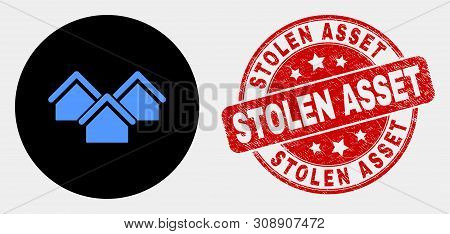 Rounded Houses Icon And Stolen Asset Seal. Red Rounded Textured Seal With Stolen Asset Text. Blue Ho