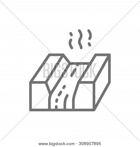 Molten metal, lava, magma, metallurgy industry line icon. poster