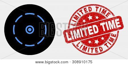 Rounded Round Perimeter Pictogram And Limited Time Watermark. Red Rounded Distress Watermark With Li