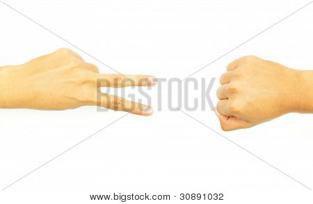 two finger with fist hand