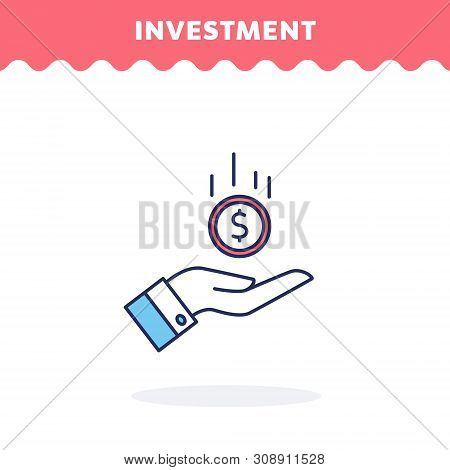 Pictograph Of Money In Hand. Flat Design. Ui Icon