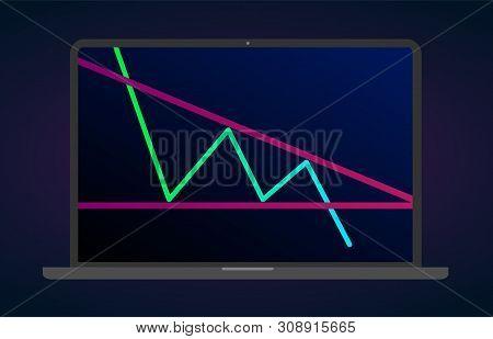 Descending triangle pattern figure technical analysis. Vector stock and cryptocurrency exchange graph, forex analytics and trading market chart. Descending bearish triangle breakouts flat laptop icon poster