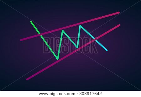 Ascending wedge pattern figure technical analysis. Vector stock and cryptocurrency exchange graph, forex analytics and trading market chart. Rising bearish wedge breakouts flat vector icon poster
