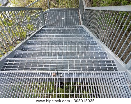 Metal Stairs Or Steps Or Staircase Descending