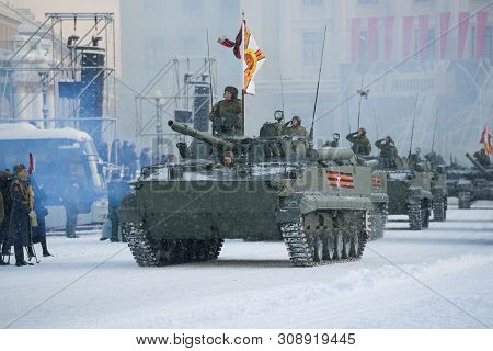 Saint Petersburg, Russia - January 24, 2019: A Convoy Of Infantry Fighting Vehicles Of The Bmp-3 At