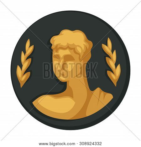 Julius Caesar Gold Portrait And Olive Branches Isolated Object