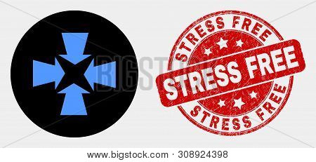 Rounded Shrink Arrows Pictogram And Stress Free Seal. Red Rounded Grunge Seal With Stress Free Text.