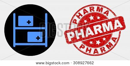 Rounded Medical Goods Icon And Pharma Seal. Red Rounded Grunge Seal Stamp With Pharma Caption. Blue