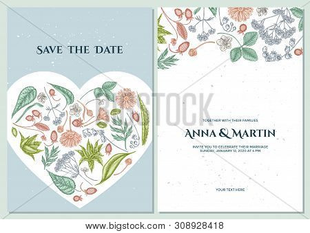 Wedding Invitation Card With Pastel Aloe, Calendula, Lily Of The Valley, Nettle, Strawberry, Valeria
