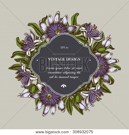 Badge Over Design With Passion Flower Stock Illustration