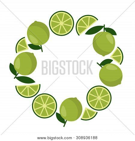 Round Frame With Lime. Holiday Decoration Element. Colorful Vector Illustration In Flat Style.