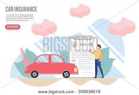 Car Insurance Concept With Character.creative Flat Design For Web Banner.