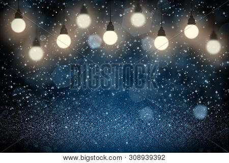 Blue Wonderful Bright Abstract Background Light Bulbs With Sparks Fly Defocused Bokeh - Festal Mocku
