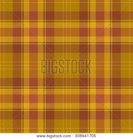 Tartan Seamless Pattern. Brown, Orange And Yellow Plaid. Tartan Flannel Background.