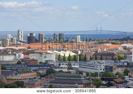 Copenhagen, Denmark - June 22, 2019 : Aerial View On The City, Oresund Bridge. It Is Railway And Mot
