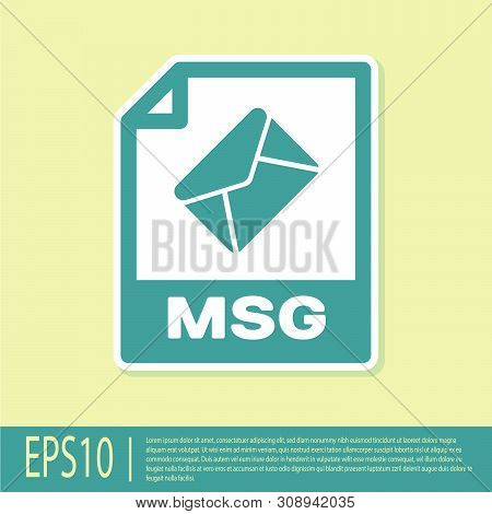 Green Msg File Document Icon. Download Msg Button Icon Isolated On Yellow Background. Msg File Symbo