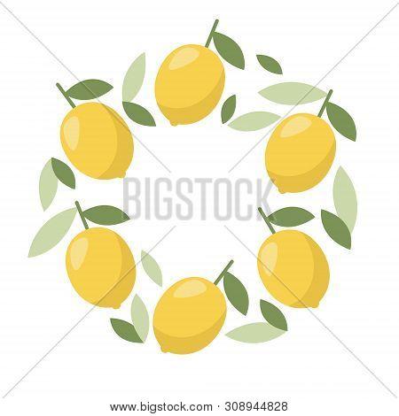 Minimal Summer Lemon Frame. Tropical Fruit. Banner, Poster Template. Healthy Food Concept.