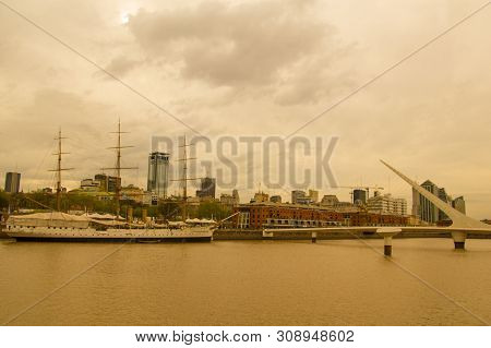 Buenos Aires, Argentina - September 20: View Of Puerto Madero, With The Frigate Sarmiento And The Pu