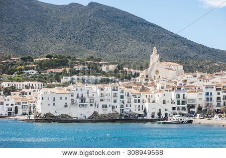Cadaques, Spain - March 31, 2019: Spain Mediterranean Village Of Cadaques, Whitewashed Houses And Th
