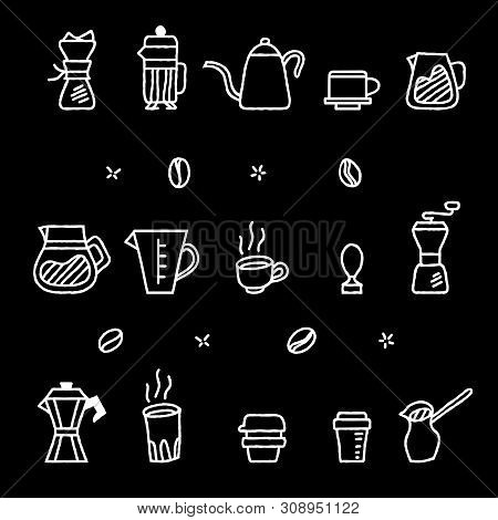 Vector Collection Graphic Of Coffee Manual Brewers In Rough  Outline Looks Like Chalk Stroke. Suitab
