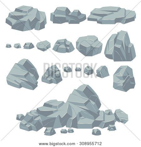 Rock Stones. Natural Stone Rocks, Massive Boulders. Granite Cobble Cliff And Stone Heap For Mountain