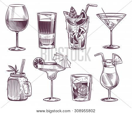 Sketch Cocktails. Hand Drawn Cocktail And Alcohol Drink, Different Drinks In Glass For Party Restaur