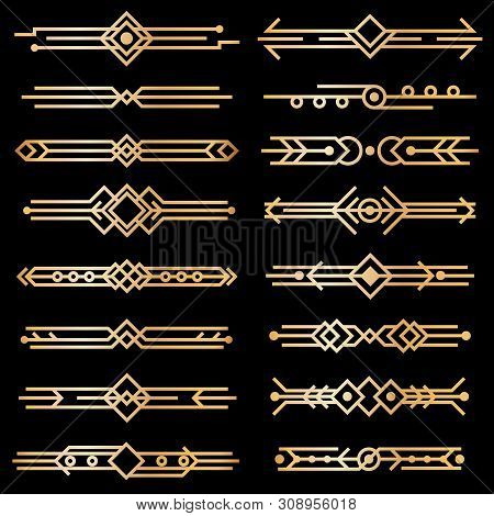 Art Deco Dividers. Gold Deco Design Lines, Golden Book Header Borders. 1920s Victorian Vintage Eleme