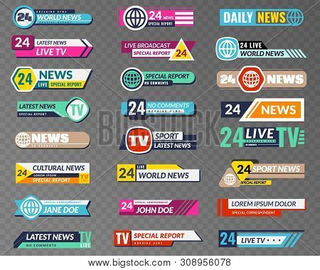 Tv Banners. Broadcasting Graphic Interface, Tv Streaming Lower Bar Title. News Television Channel Sc