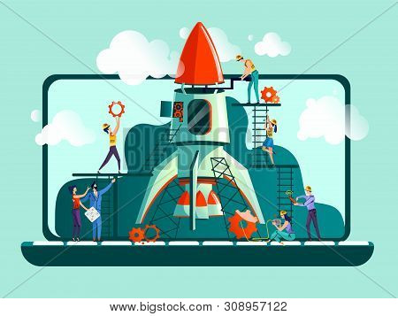 Business Start Up Concept Vector Illustration. Open Laptop, Rocket And Team Work On Control, On Sett