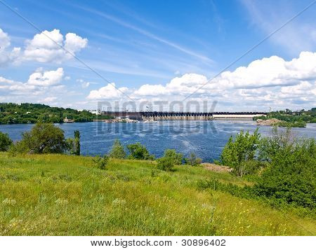 view on the water-power plant dam and river Dnipro from the Khortytsya island poster