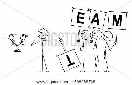 Vector Cartoon Stick Figure Drawing Conceptual Illustration Of Man Or Businessman Claiming Merit Or