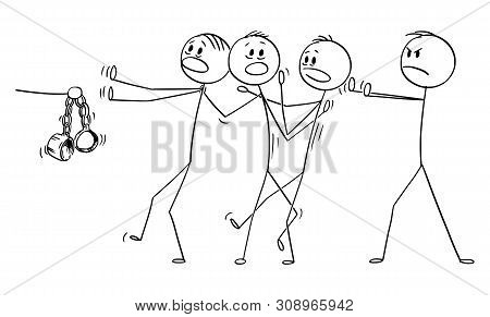 Vector Cartoon Stick Figure Drawing Conceptual Illustration Of Man Or Businessman Or Manager Accusin