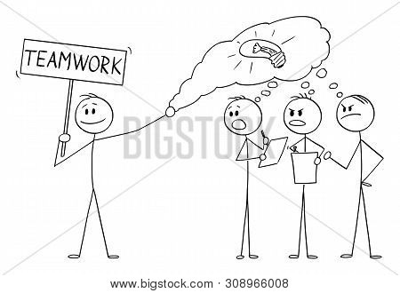 Vector Cartoon Stick Figure Drawing Conceptual Illustration Of Man Or Businessman Stealing Idea Or I